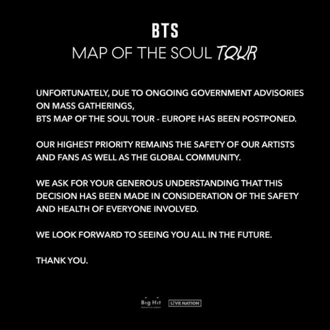 bts tour postponed