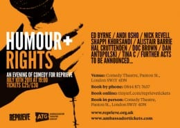 Win Win Win!... 'Humour and Rights' Comedy Night Tickets - Competition Closed